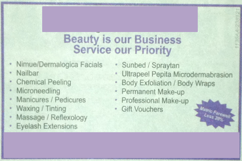 A list of services is not a special offer